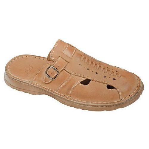 Łukbut Klapki buty 965 beżowe - beżowy   brązowy