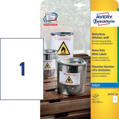 Etykiety Avery Zweckform Heavy Duty 210 x 297mm poliestrowe białe 10 ark./op. J4, 154487