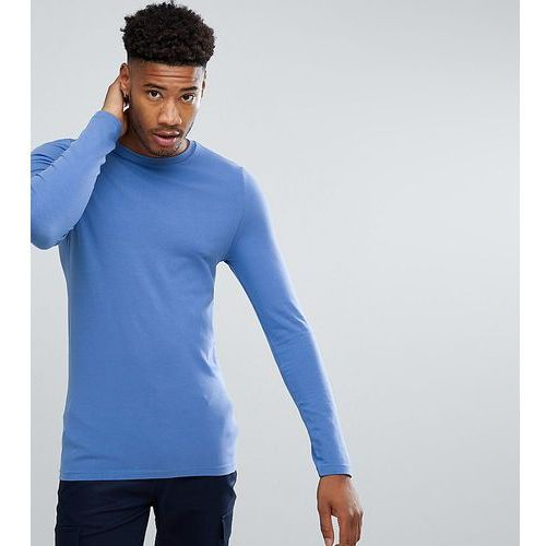 ASOS TALL Long Sleeve Muscle Fit T-Shirt With Crew Neck - Blue