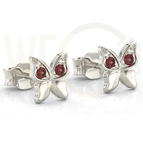 Węc - twój jubiler Kolczyki motylki z białego złota z czerwonymi cyrkoniami bpk-88b-c - białe