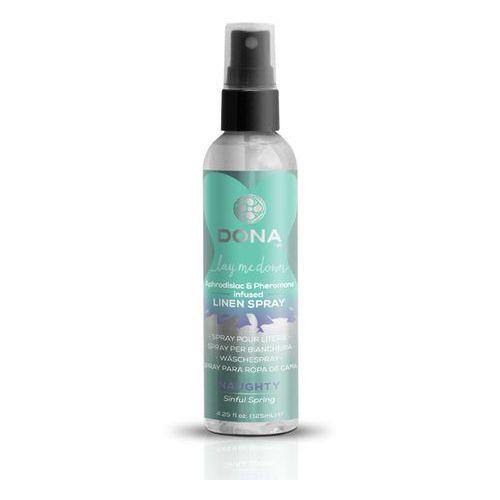 Spray z feromonami do pościeli - Dona Linen Spray 125 ml Sinful Spring - pryskaj na pościel poduszki