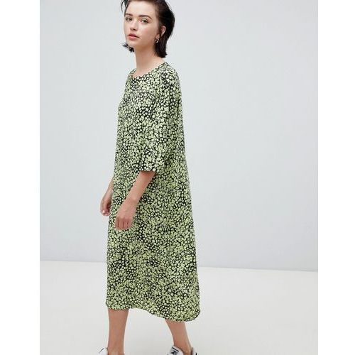 Weekday floral bell sleeve midi dress in floral print - Multi, w 4 rozmiarach