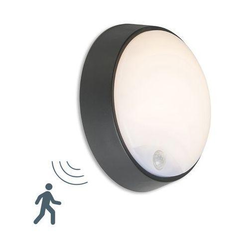 Zewnetrzna lampa scienna Hortus LED okragla czarna IP54 z czujnikiem ruchu