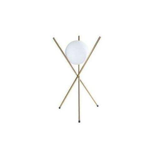 Maxlight Stojąca lampa stołowa xena t0044 loftowa lampka metalowe pręty szklana kula mosiądz biała