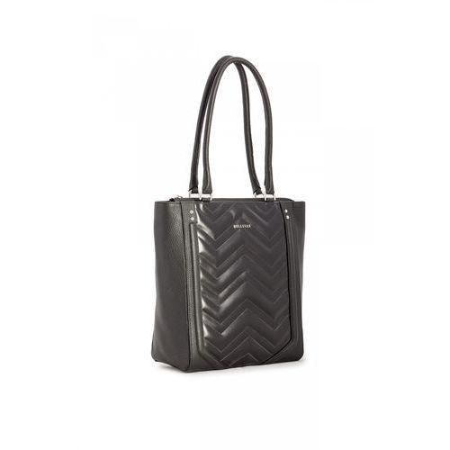 Franco bellucci Czarna torebka z groszkowanej skóry naturalnej -
