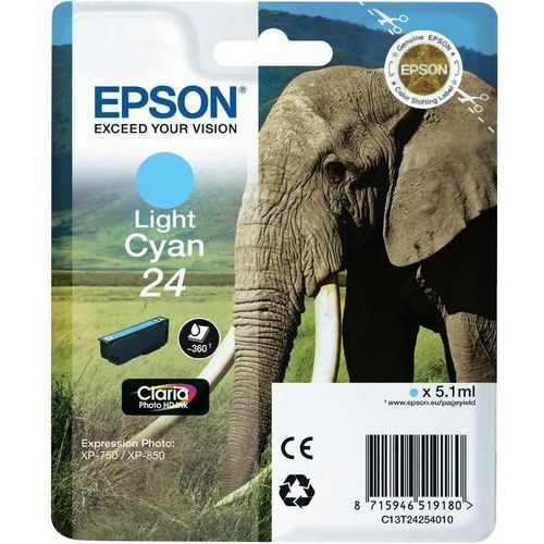 EPSON 24 ink cartridge light cyan standard capacity 5.1ml 360 pages 1-pack blister without alarm