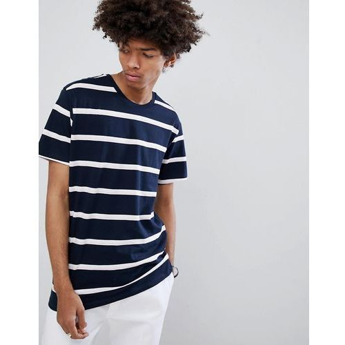 Bershka Stripe T-Shirt In Navy And White - Black, kolor czarny