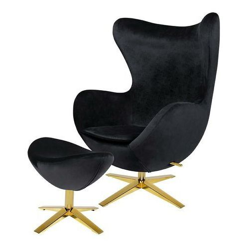 Fotel EGG SZEROKI VELVET GOLD z podnóżkiem HE-066.HM8+OTTO.50G -King Home