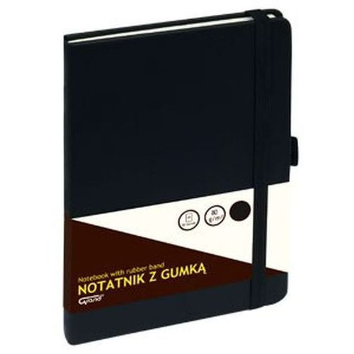 Notatnik GRAND z gumką czarny A5, 80 kartek kratka - KW TRADE