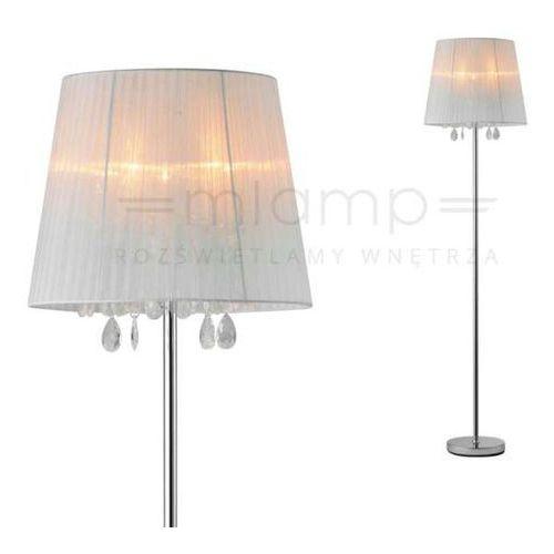 Zumaline Stojąca lampa podłogowa cesare rll94350-5a abażurowa oprawa z kryształkami glamour crystal biała