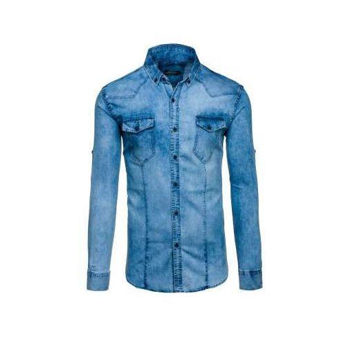 Niebieska koszula męska jeansowa z długim rękawem denley 0895 marki Madmext