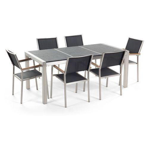 Zestaw ogrodowy stół granit palony dzielony blat czarny i 6 krzeseł czarnych GROSSETO (4260580932108)