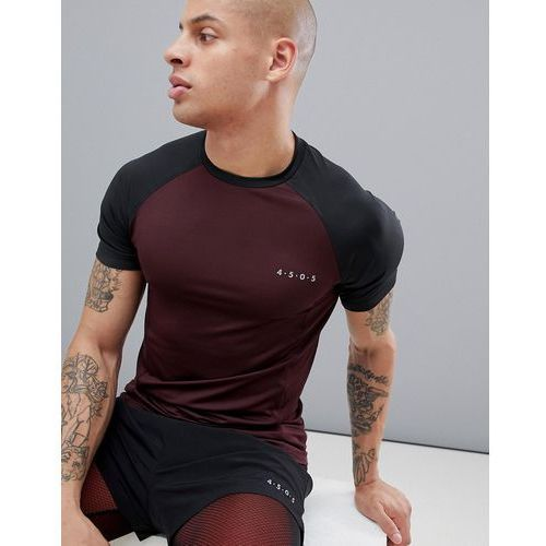 training muscle t-shirt with contrast raglan and quick dry - red marki Asos 4505
