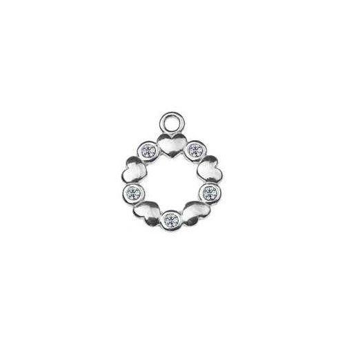 925.pl Zawieszka okrągła z serduszkami i kamieniami swarovski, srebro 925 s-charm 320