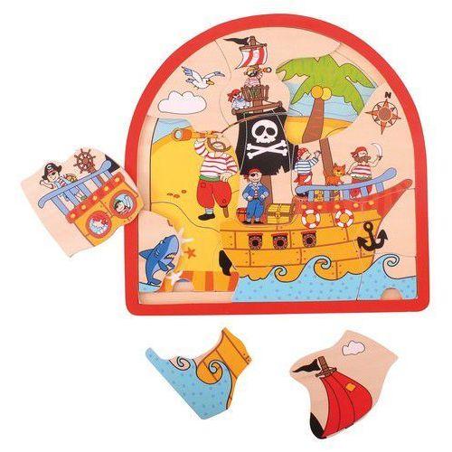 Bigjigs toys Puzzle drewniane statek piracki