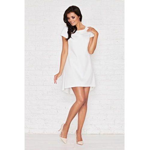 Biała Skromna Sukienka z Dłuższym Tyłem z Plisą, kolor biały