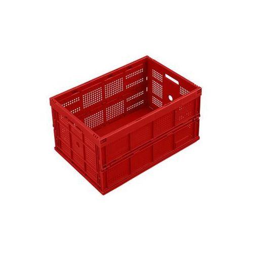 Pojemnik składany z polipropylenu, poj. 60 l, bez pokrywy, czerwony, wersja perf marki Walther faltsysteme