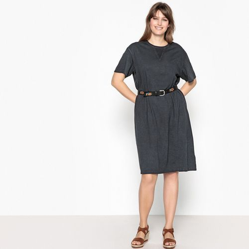 Castaluna Prosta, półdługa sukienka z krótkim rękawem wykonana z gładkiego materiału