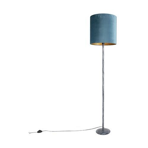Lampa podłogowa vintage antyczny szary z niebiesko-złotym kloszem 40cm - simplo marki Qazqa