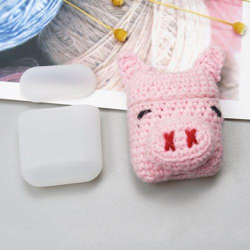 Silikonowe etui pudełeczko case na słuchawki AirPods 2gen / 1gen z wełnianą nakładką świnka - 3