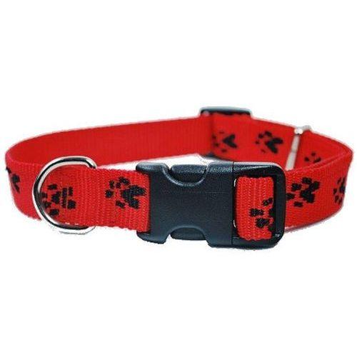 obroża regulowana rozm. 25mm/33-60cm kolor czerwony w czarne łapki marki Chaba