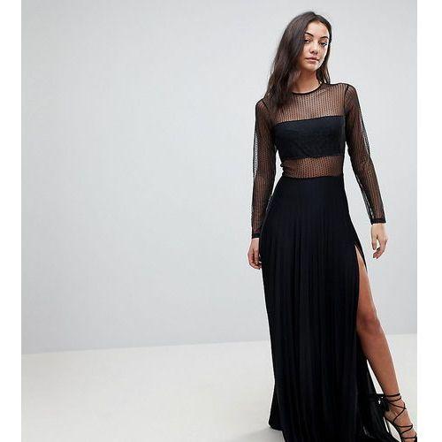 pleated dobby & lace top long sleeve maxi dress - black marki Asos tall