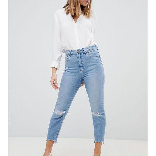 ASOS DESIGN Petite Farleigh high waist slim mom jeans in zaliki light vintage wash with busted knees - Blue, z