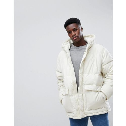 Weekday jared puffer jacket off white - beige