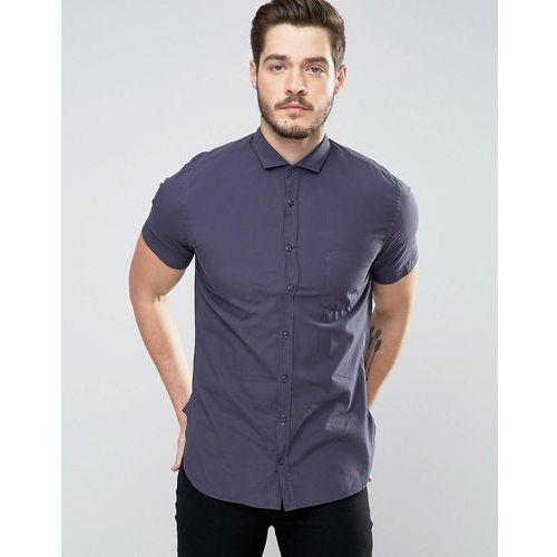 Boss orange  by hugo boss short sleeve shirt slim fit in navy - navy