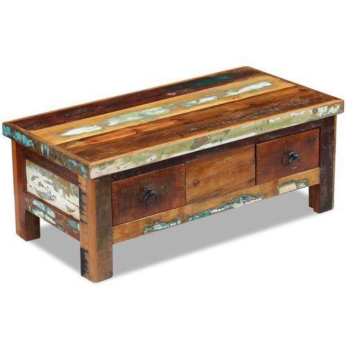 Vidaxl  stolik kawowy z szufladami drewna odzyskanego 90x45x35 cm