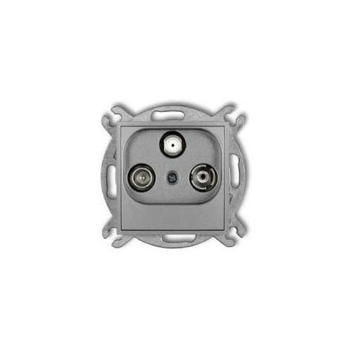 Gniazdo antenowe Karlik Mini 7MGM RTV-SAT końcowe multimedialne (Internet) srebrny metalik