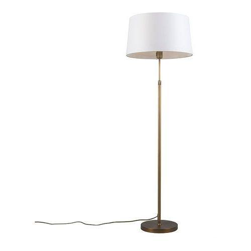 Lampa podlogowa Parte braz z bialym kloszem
