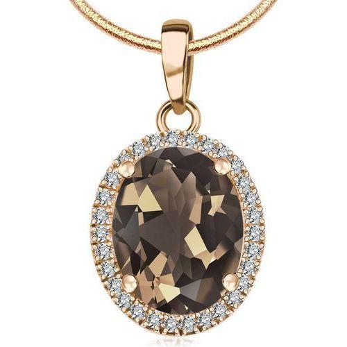 Jubilé - złota zawieszka z kwarcem dymnym i diamentami