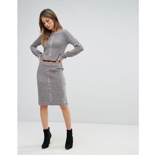 sanna rib and cable mix bodycon skirt - grey, Bellfield, 34-40