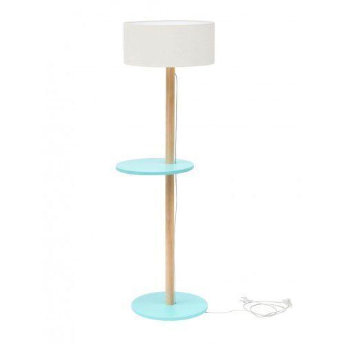 Lampa Podłogowa drewniana RAGABA UFO - ciemny turkus/abażur biały