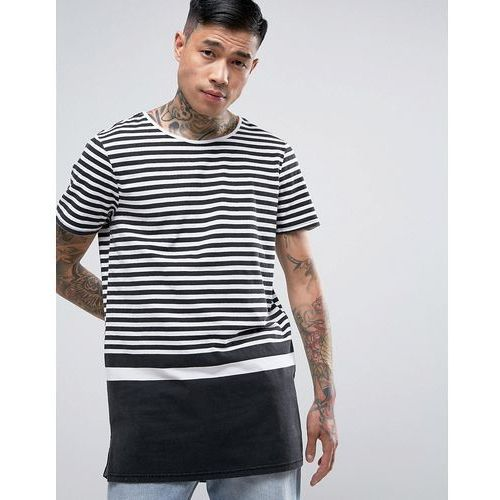longline t-shirt with block stripe in black - black marki New look