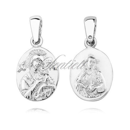 Srebrny (pr.925) medalik diamentowany Matka Boska Nieustającej pomocy / Serce Jezusa - dwustronny