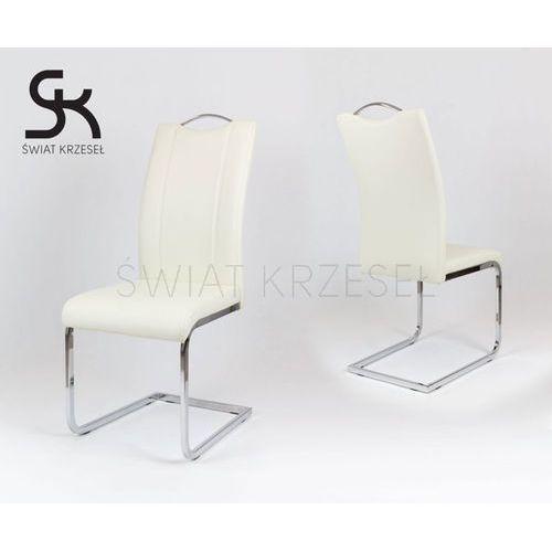 Sk design  ks003 kremowe krzesło z ekoskóry na stelażu chromowanym - kremowy