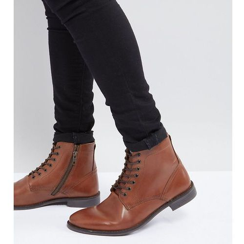 wide fit casual lace up boots in tan leather with brown sole - tan marki Asos design