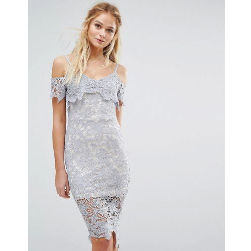 Boohoo crochet lace cold shoulder midi dress - blue