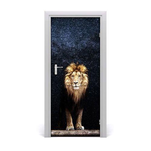 Naklejka samoprzylepna na drzwi Lew na tle gwiazd