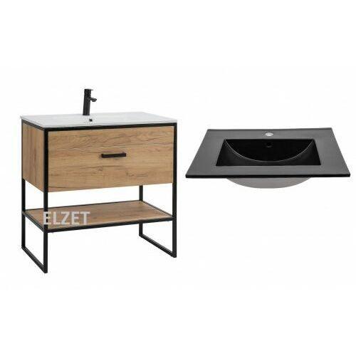 COMAD szafka Brooklyn dąb craft złoty/czarny mat + umywalka Lava 80 czarna BROOKLYN 821 + UM-8003-80, kolor dąb