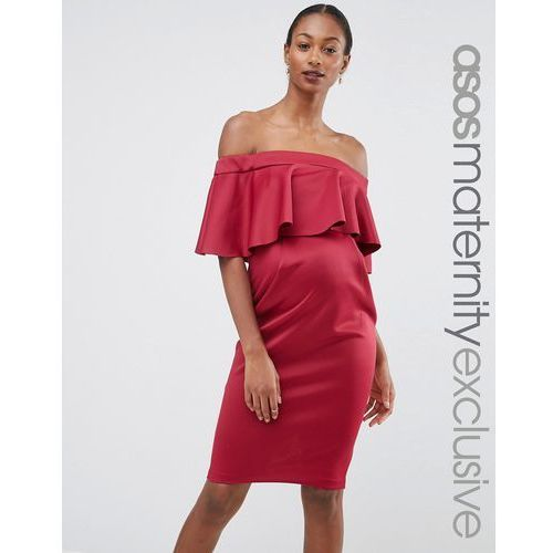 ASOS Maternity PREMIUM Satin Top Pencil Dress - Red