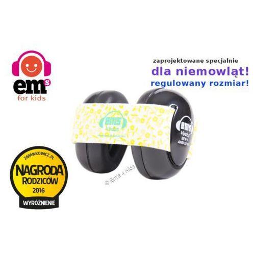 Słuchawki ochronne nauszniki dla dzieci 0+, em's - czarny \ żółte kwiaty marki Em's 4 kids