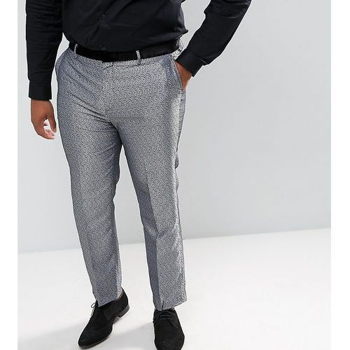 ASOS DESIGN Plus slim tuxedo suit trousers in silver leopard print - Silver