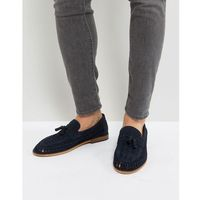 River island suede loafer with tassels in navy - navy