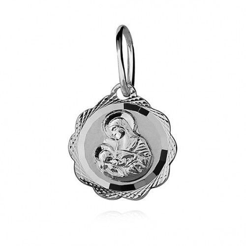 Srebrny medalik matka boska karmiąca diamentowany marki Produkt polski