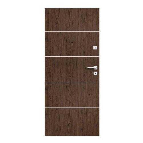 Drzwi zewnętrzne drewniane Dominos Alu 90 lewe orzech naturalny