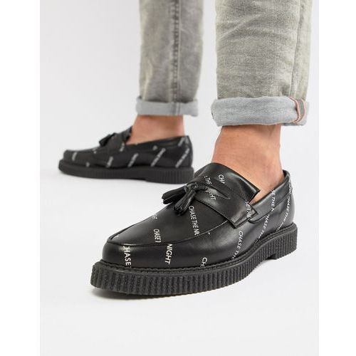 design creeper loafers in black leather with and chase the night print - black, Asos