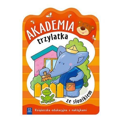 Praca zbiorowa Akademia trzylatka ze słonikiem książeczka edukacyjna z naklejkami
